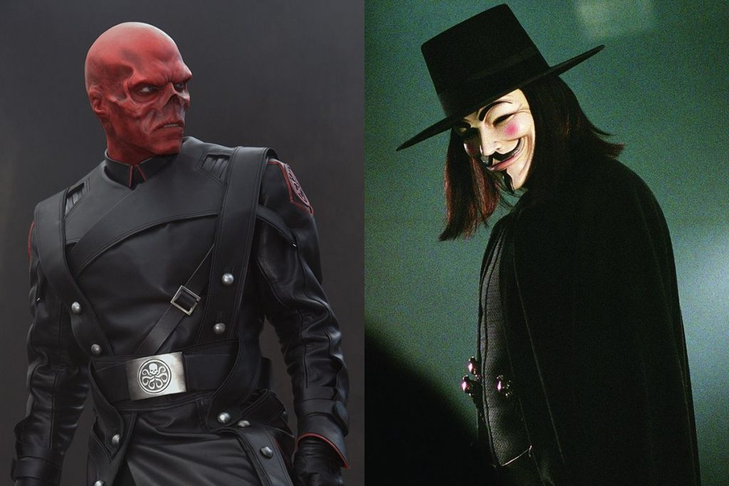 Hugo Weaving as Red Skull and the masked vigilante in V for Vendetta