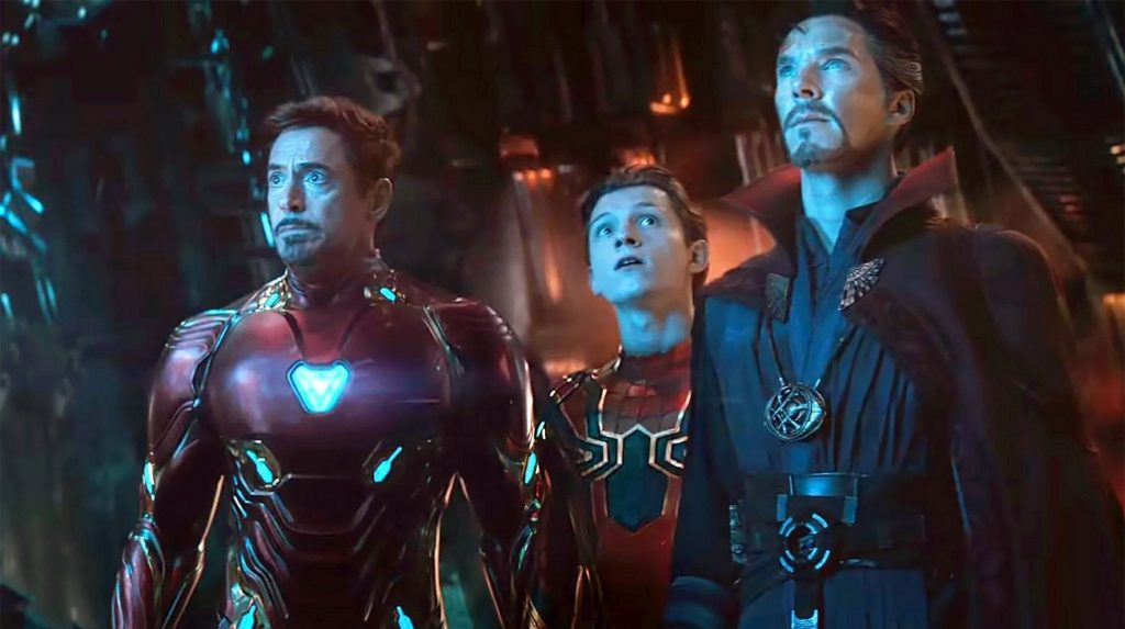 Iron Man, Spider-Man, and Doctor Strange in Avengers: Infinity War.