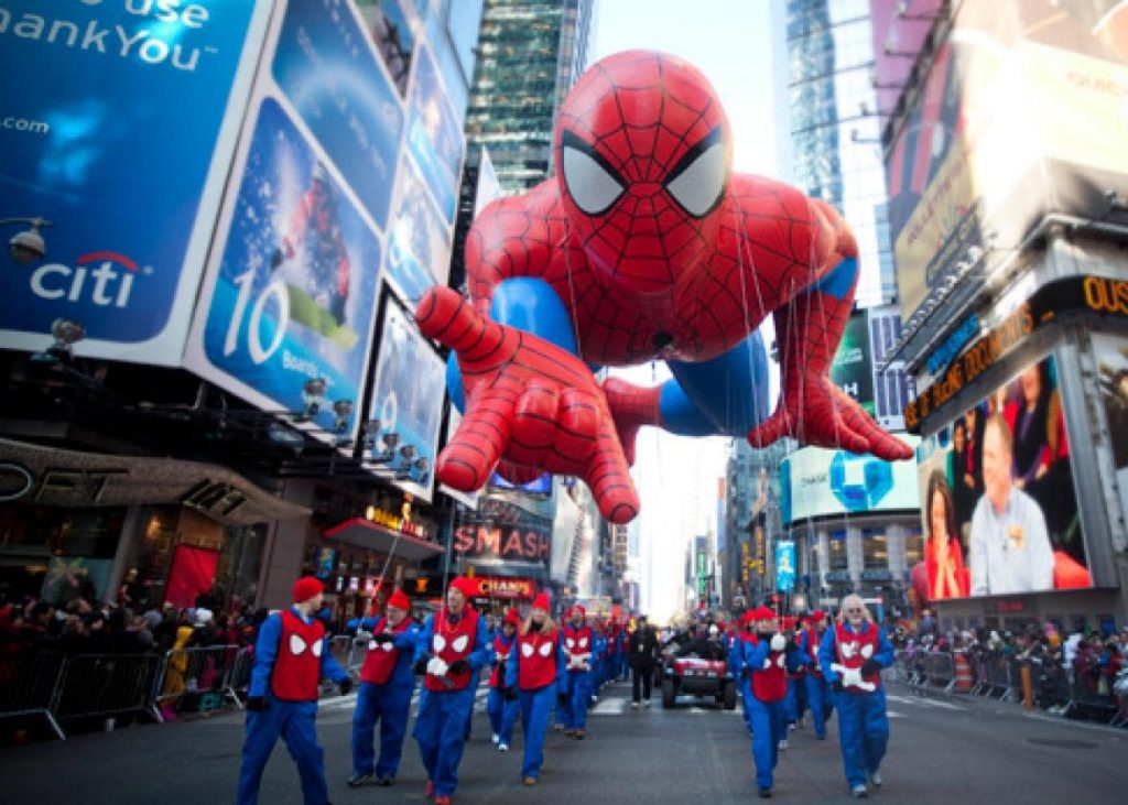 A gigantic Spider-Man balloon floats down the New York City streets in the Macy's Thanksgiving Day parade.