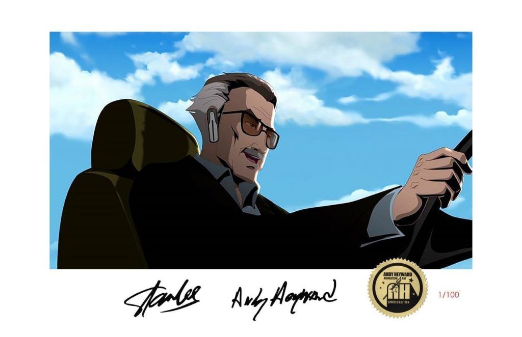 A lithograph of an animated Stan Lee driving a car with his hands on the wheel and a blue sky with clouds above him