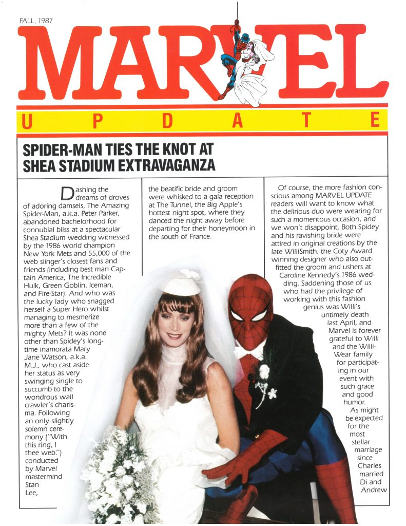 Marvel Update magazine recounting the 1987 wedding of Spider-Man and Mary Jane