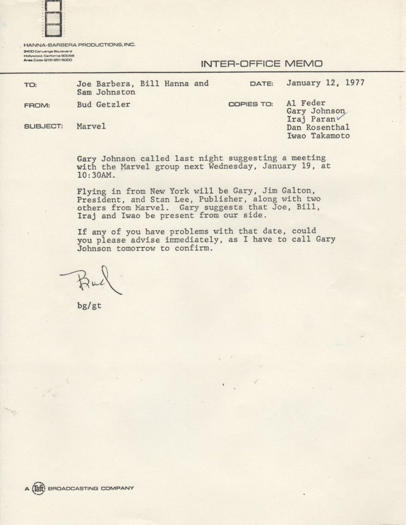 A memo from 1977 regarding a meeting with Marvel and Hanna-Barbera