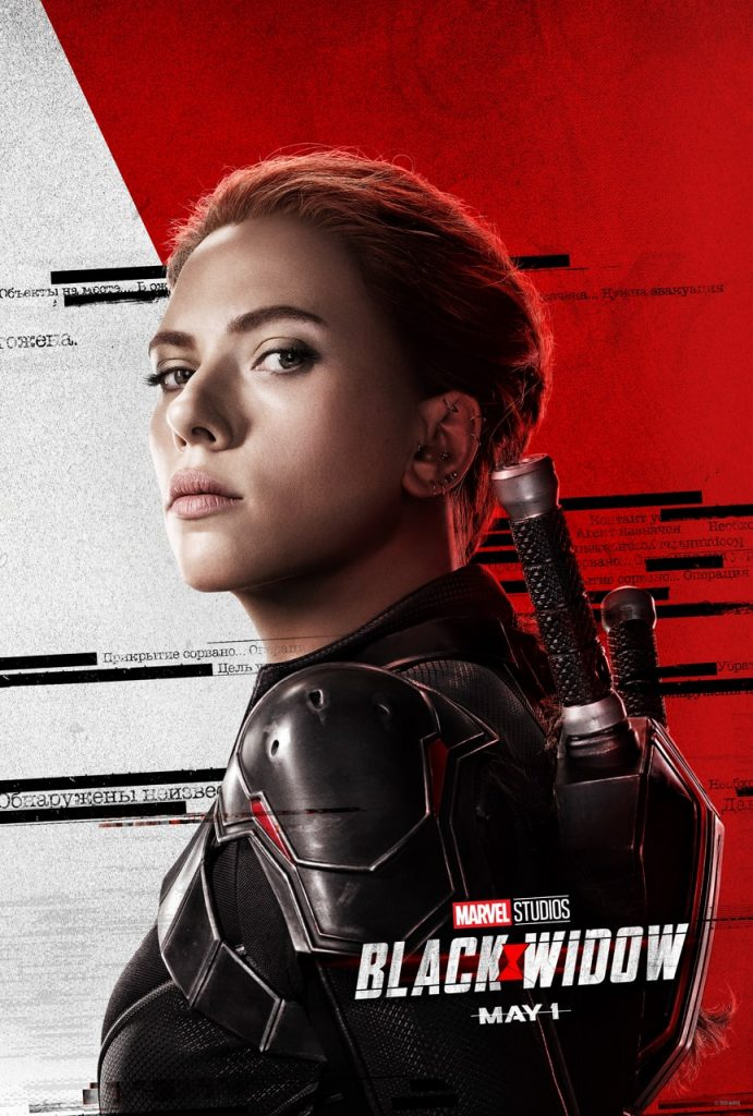 A movie poster for the Marvel movie Black Widow with a red and white background with Scarlett Johansson as Black Widow dressed in black in the foreground.
