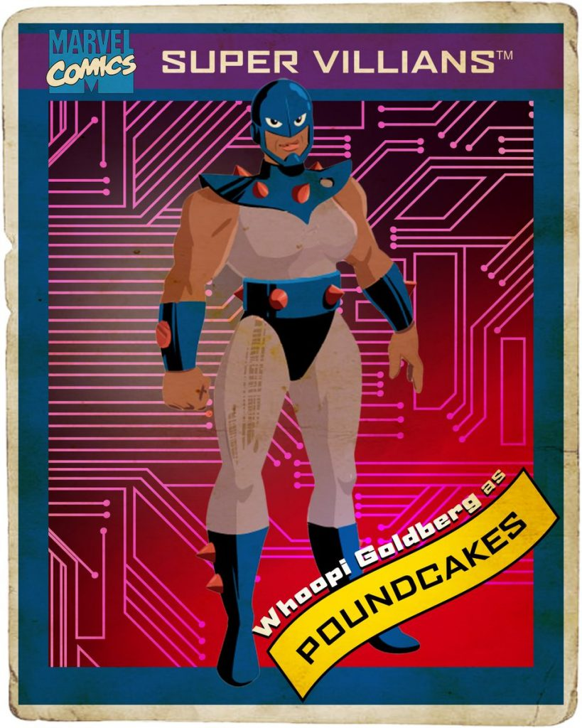 Retro Marvel trading card with purple and pink background with Poundcakes in the center