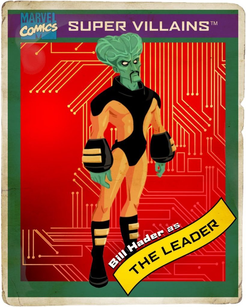 Retro Marvel trading card with red background with The Leader in the center.