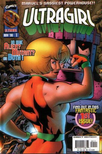 The cover of Marvel Comics' Ultragirl #1 featuring a blonde superhero flexing her arm muscle