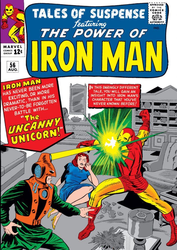 Cover of Marvel Comics' Tales of Suspense #56 featuring the Uncanny Unicorn projecting yellow energy from its headgear towards Iron Man