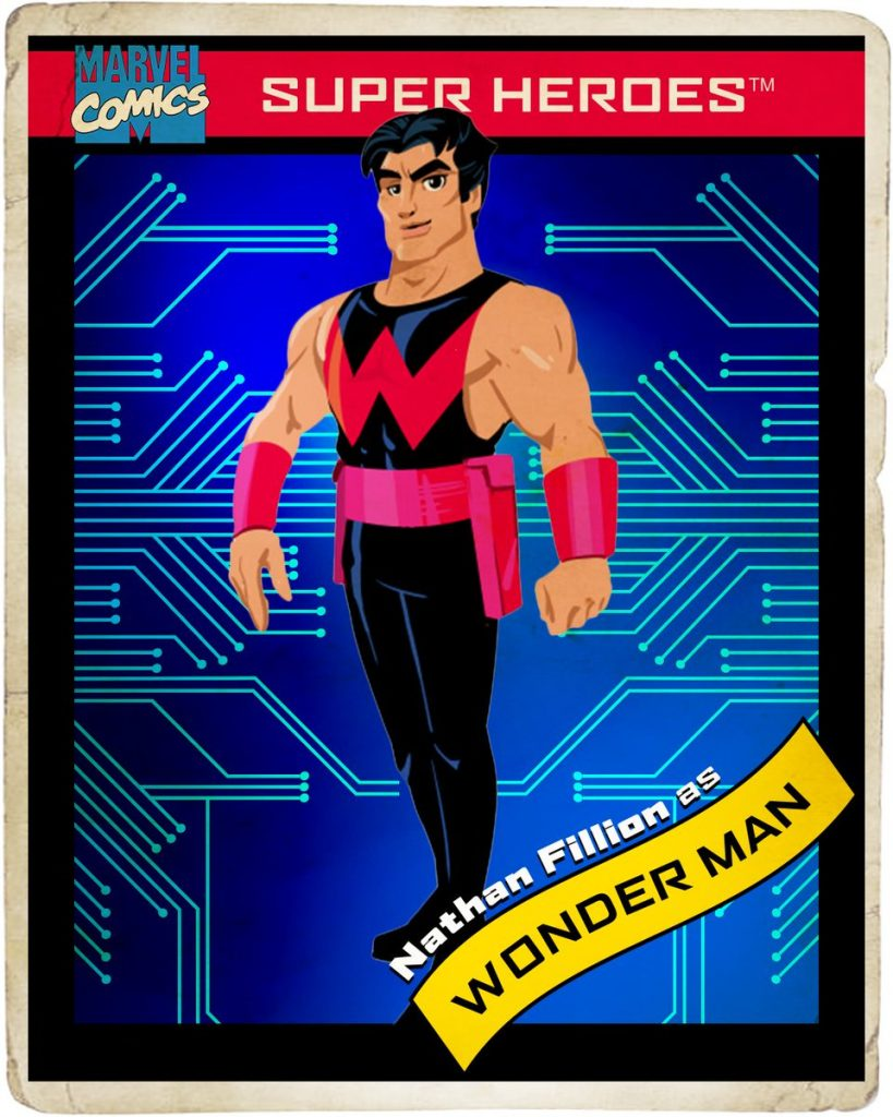 Retro Marvel trading card design with blue background and Wonder Man in the center