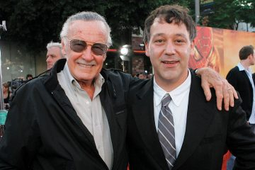 Stan Lee and Sam Raimi on a red carpet