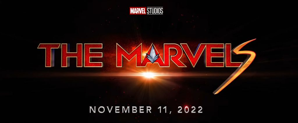 Title card for Marvel Studios' The Marvels in red text against a black background