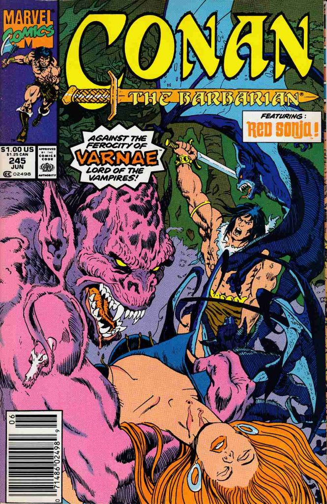 Marvel Comics cover for Conan the Barbarian featuring a pink monster named Varnae