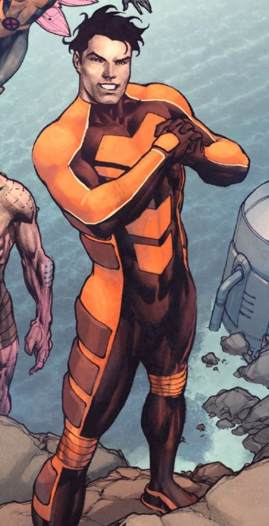 The Marvel character Velocidad with him arms crossed in an orange superhero suit