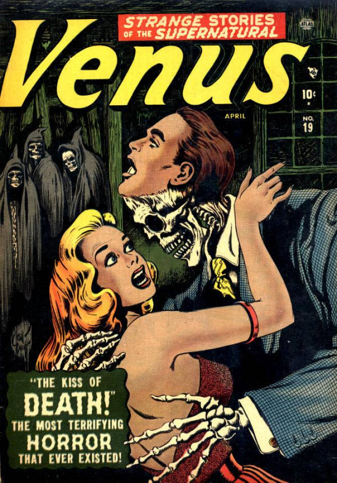 A cover of Venus from Marvel Comics, featuring Venus with her arms around a man in a suit who turns out to be a skeleton