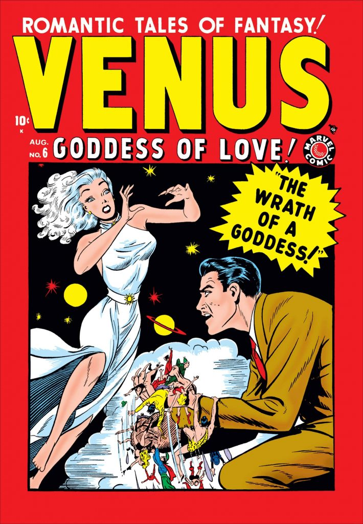 Red comic book cover featuring Venus, the Goddess of Love in a white dress next to a nefarious looking man in a tan suit