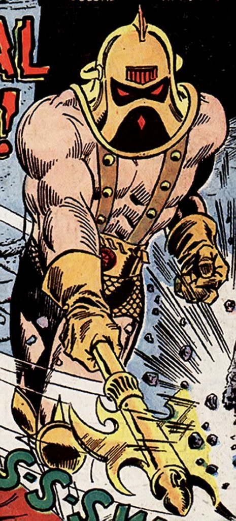 An image of Victorius from Marvel Comics, with an orange helmet and pointing a yellow spear