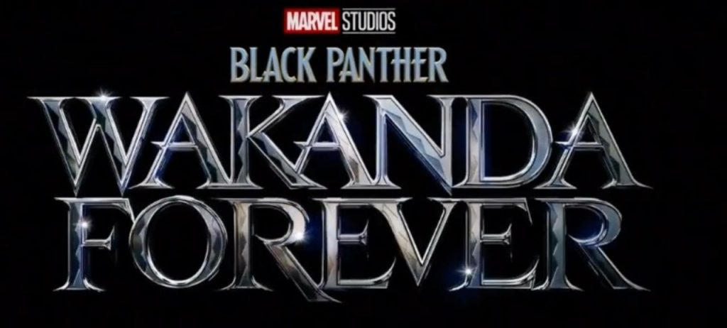 Title card for Marvel Studios' Black Panther: Wakanda Forever in silver text against a black background