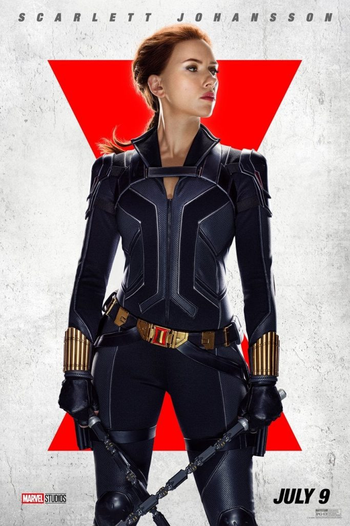 Scarlett Johansson dressed in a black superhero suit in front of a white and red background