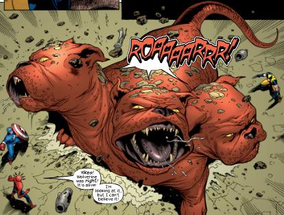 A giant three headed red dog roars in the pages of Marvel Comics.