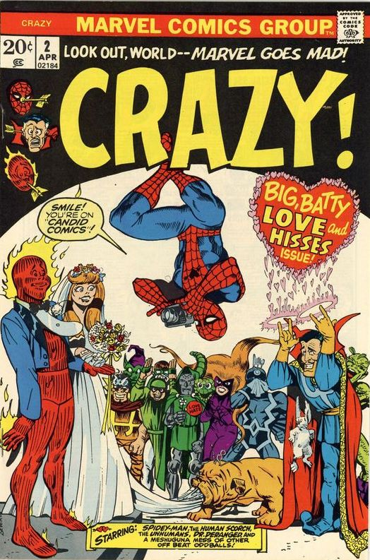 Cover of Crazy comic book from Marvel featuring superheroes like Spider-Man