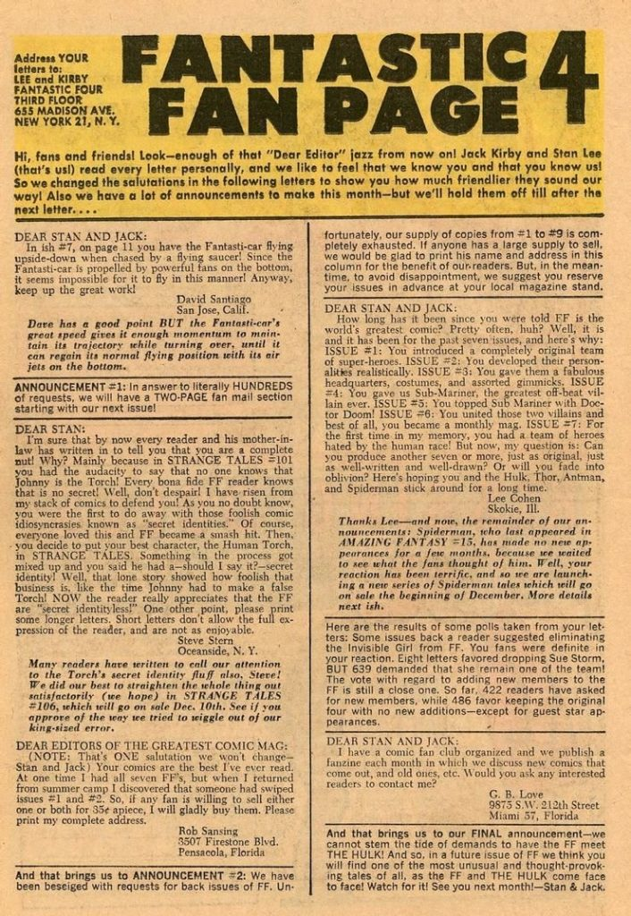 A letters page from Fantastic Four