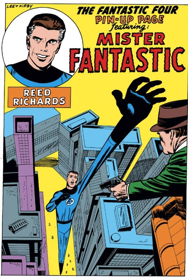 Mr. Fantastic pin up page in the pages of Fantastic Four