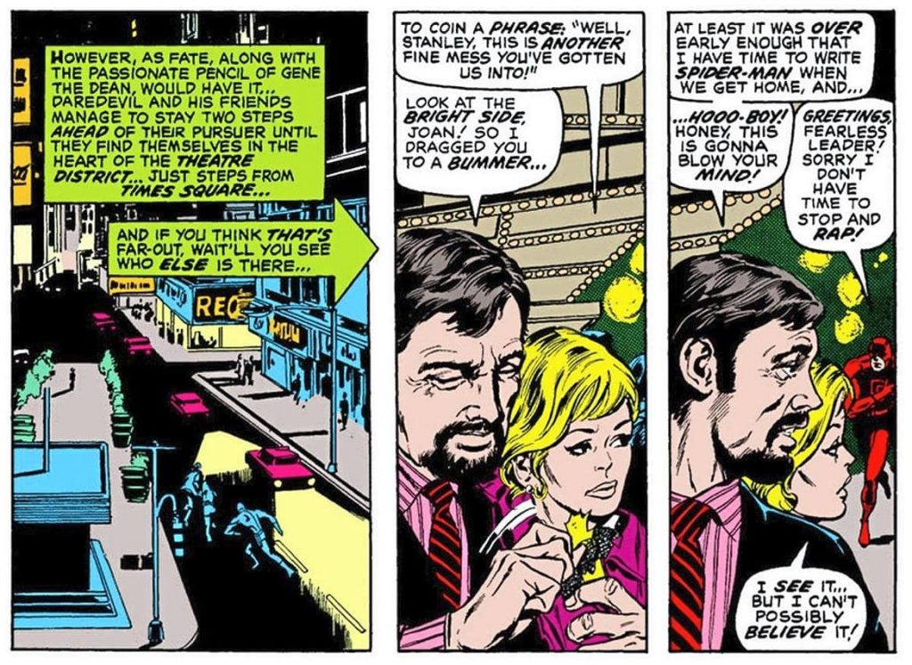 Stan Lee and Joan Lee cross paths with Daredevil in New York City in Daredevil #79.