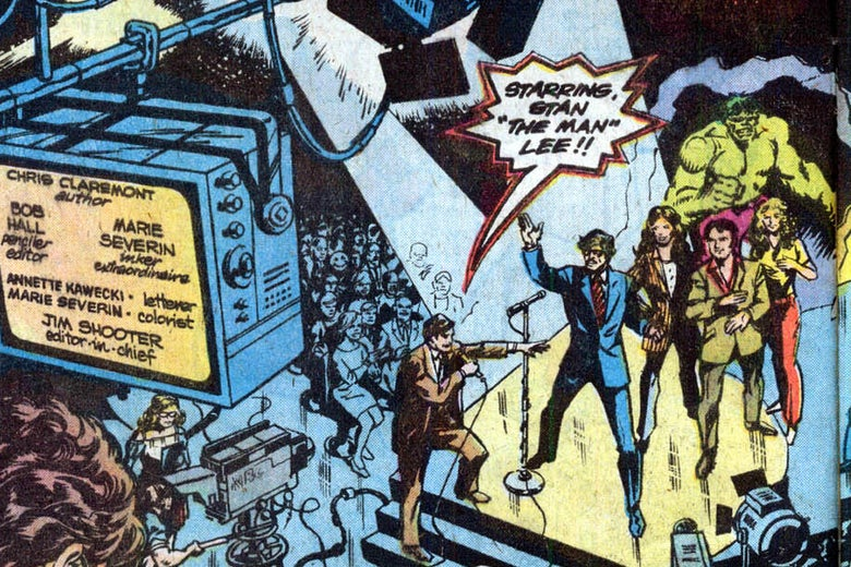Stan Lee on stage at Saturday Night Live in the comic Marvel Team-Up #74.