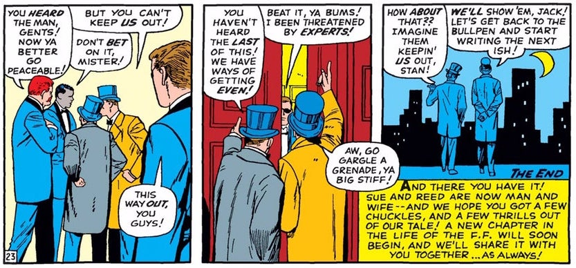 Stan Lee and Jack Kirby, dressed in formalwear, crash the wedding of Reed Richards and Sue Storm in Fantastic Four Annual #3.