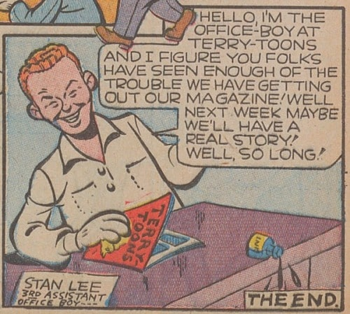 Stan Lee as a young man sitting at a desk speaking in Terry Toons Comics from 1943.