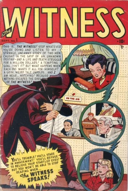 A page from The Witness #1, a Marvel comic from the 1940s featuring a masked character at a microphone at a radio station.