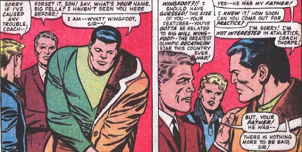 Two panels from Marvel Comics featuring Wyatt Wingfoot.