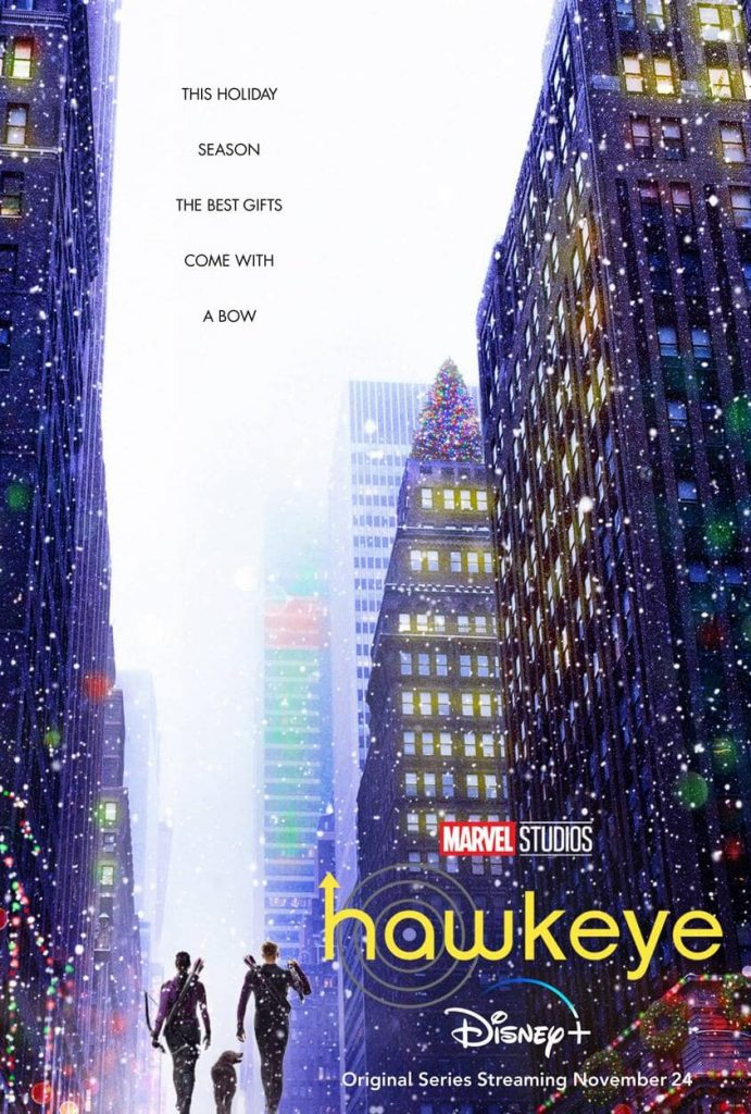 Two figures with bows and arrows across they backs are surrounded by tall skyscrapers with snow flying around in the poster for the Disney+ show Hawkeye.