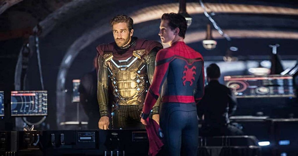 Jake Gyllenhaal in a gold plated suit and Tom Holland in a red and blue Spider-Man suit in Spider-Man: Far From Home